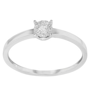 18k White Gold Diamond Engagement Ladies Ring Bliss by Damiani 0.10Cttw Size 6.5