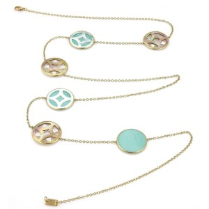 Ippolita Mother of Pearl Turquoise 18k YGold 6 Round Station Long Necklace