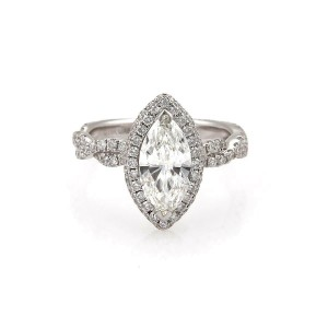 Diamond Solitaire 1.33ct Marquise Cut  18k Gold Engagement Ring G-SI1 GIA Cert
