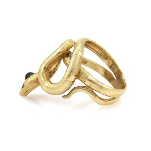 Vintage Onyx & Peridot 18k YGold Double Band Coiled Snake Ring Size 9.5