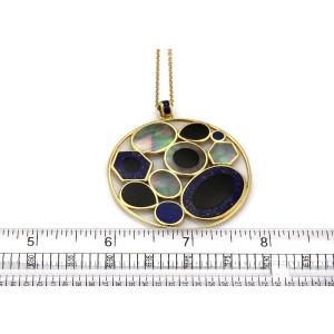 Ippolita Rock Candy Mother of Pearl Onyx Lapis 18k Gold Round Pendant Chain
