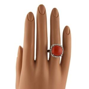 Vintage 1.10ct Diamond Coral 18k White Gold Cocktai Ring Size 9