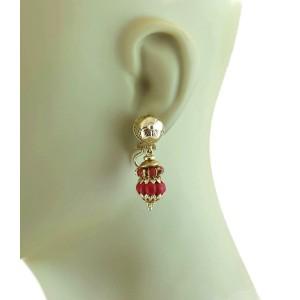 Retro 18k Yellow Gold Coral Fancy Drop Dangle Earrings