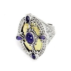 Konstantino Iolite Sterling & 18k Yellow Gold Oval Ring Size - 7