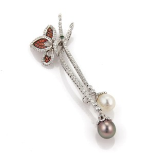 Estate 1.50ct Diamond Tsavorite Pearls Floral 18k Gold Flex Pin Pendant