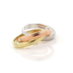 Vintage Tiffany & Co.18k Tricolor Gold Grooved 3 Rolling Band Ring Size 4.5