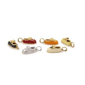 18k Yellow Gold Set of 6 Multicolor Enamel Baby Shoe Charms