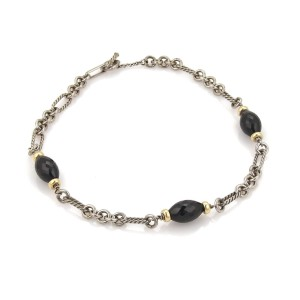 David Yurman Onyx Bead Charms 925 Silver 18k Yellow Gold Cable Necklace