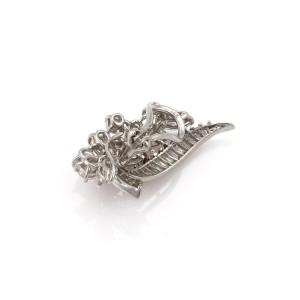 Platinum 6.5ctw Diamond Long Curved Design Floral Post Clip Earrings