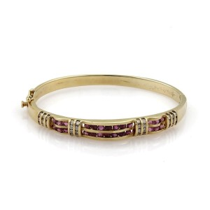 Vintage 2.80ct Diamond & Ruby 14k Yellow Gold Fancy Bangle Bracelet
