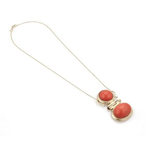 Vintage Coral Citrine 14k Yellow Gold Pendant & Chain Necklace