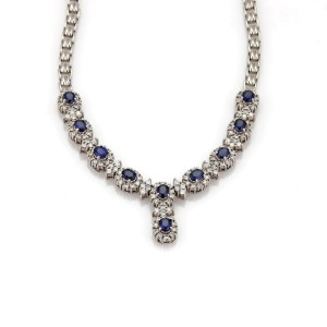 Estate 7.40ct Diamond Sapphire 14k White Gold Fancy Floral Necklace