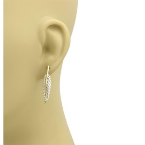 Tiffany & Co. Sterling Silver 18k Yellow Gold Feather Leaf Earrings