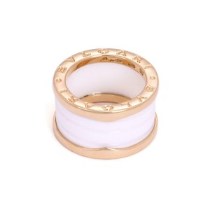 Bvlgari Bulgari B Zero-1 18k Pink Gold White Ceramic 12mm Band Ring Size 49