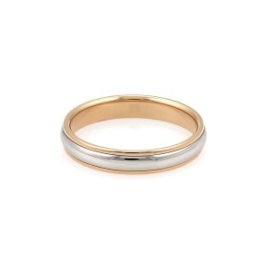 Tiffany & Co. Platinum Rose Gold 4mm Wide Dome Wedding Band Ring Size 6.5