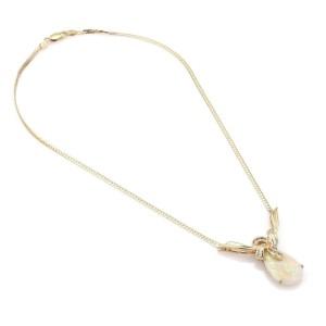 Vintage 10.25ct Fire Opal & Diamond 14k Yellow Gold Fruit Pendant Necklace