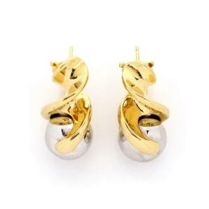 Marina B 18k Yellow Gold Two Tone Swirl Bead Style Illusion Style Earrings