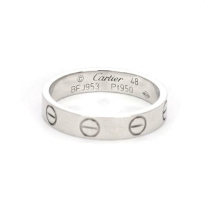 Cartier Mini Love Platinum 3.5mm Wide Band Ring Size 48-US 4.5 w/Cert