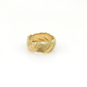 Tiffany & Co. 18k Yellow Gold Fancy Leaf Design 7mm Wide Band Ring Size 5.5