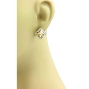 David Yurman Diamond 18k Yellow Gold Quatrefoil Stud Earrings