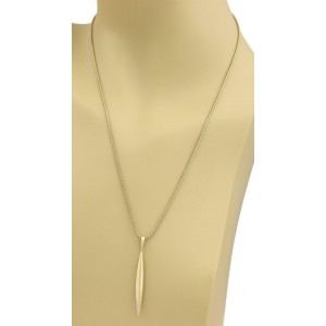 Tiffany & Co. 18k Yellow Gold Feather Pendant Snake Chain Necklace
