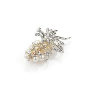 Estate 2.50ct Diamond 14k White Gold Pearls Grape Bunch Design Brooch