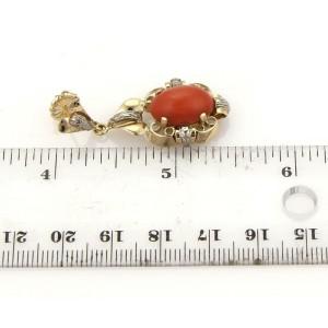 VintageCoral Floral Design Earrings Pendant & Ring Set in 18k Gold