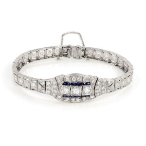 Art Deco 1.60ct Diamond Sapphire Platinum Fancy Milgrain Bracelet