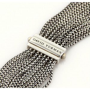 David Yurman Sterling Silver Multi-Strand Box Chain Necklace
