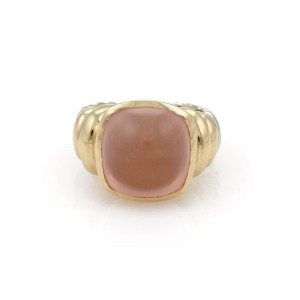 David Yurman Rose Quartz Sterling & 14k Yellow Gold Cable Cocktail Ring