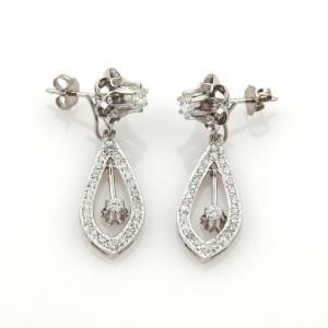 Estate 1.40ct Diamonds 14k Gold Double Style Studs & Drop Dangle Earrings