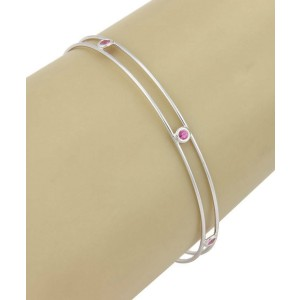Tiffany & Co. Peretti Pink Sapphire By The Yard 18k WGold Double Wire Bangle