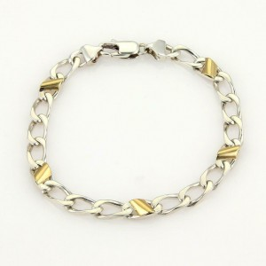 Tiffany & Co. Vintage 925 Silver & 18k Yellow Gold Chain Link Bracelet