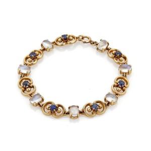 Vintage 6ct Moonstone & Sapphires 14k Yellow Gold Fancy Link Bracelet