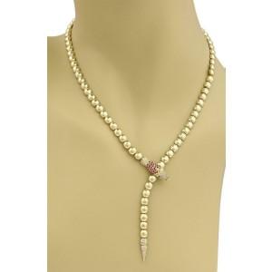 Lovely 1.00ct Diamond & Ruby 18k Gold Snake Lariat Beaded Necklace