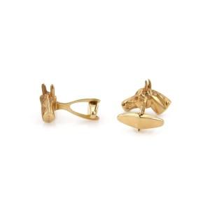 Signed Da Vinci 14k Yellow Gold Ruby 3D Horse Head Stud Cufflinks