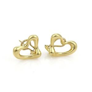 Tiffany & Co. Peretti 18k Yellow Gold Open Heart Post Clip Earrings