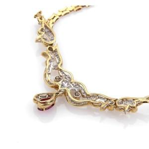Estate 3.80ct Diamonds & Ruby 18k Yellow Gold Fancy Design Necklace