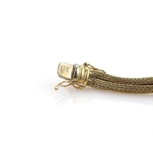 18k Yellow Gold & Diamonds 3 Station Double Foxtail Mesh Chain Bracelet