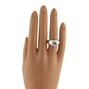Chopard Happy Diamond 18k White Gold Dome Heart Ring Size 6