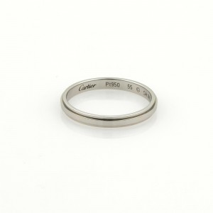 Cartier Platinum 2.5mm Wide Grooved Wedding Band Ring Size EU 55-US 7.25