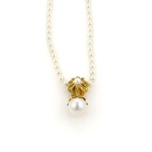 Tiffany & Co. 18k Yellow Gold Pearls Pendant Necklace