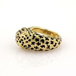 18k Yellow Gold Diamond & Enamel Leopard Ring Size - 8.5