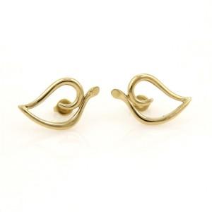 Tiffany & Co. 18k Yellow Gold Open Curved Leaf Earrings