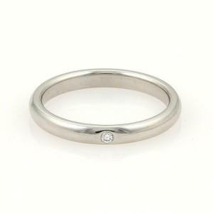 Tiffany & Co. Peretti 1 Diamond Platinum 2.5mm Wedding Band Ring Size 7.25