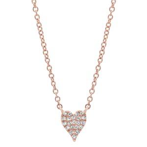 Rachel Koen 14K Rose Gold Pave Diamond 0.05cttw Heart Pendant 18 Inch Necklace