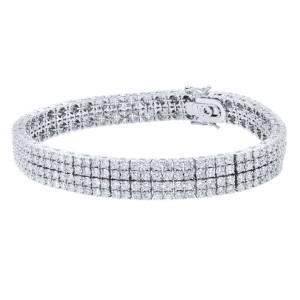 Rachel Koen 5.30cts Four Row Diamond Pave Bracelet 18K White Gold