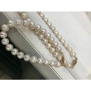 Rachel Koen Classic Natural Pearl Set of Bracelet and Necklace Yellow Gold Clasp