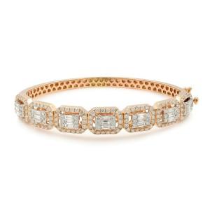 14K Rose Gold Emerald & Round Cut Diamonds Bangle 3.50cts