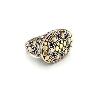 John Hardy Jaisalmer Dot  Sterling & 18k Yellow Gold Oval Ring